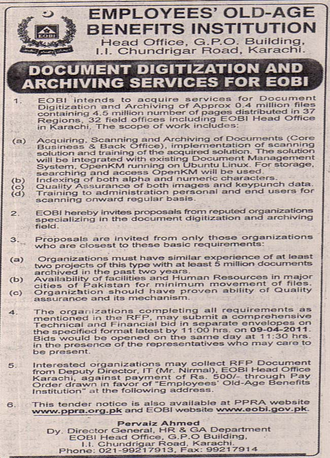 Tenders expression of interest for legal consultancy pre qualification of consultant invitation for bid for repairmaintenance works at eobi field office spiritdancerdesigns Gallery